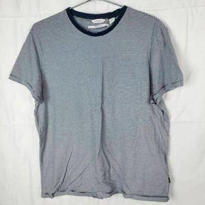 Calvin Klein Mens T-Shirt Blue White Striped  L